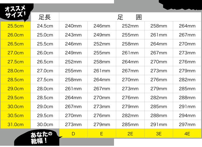 メンズ靴のサイズ表